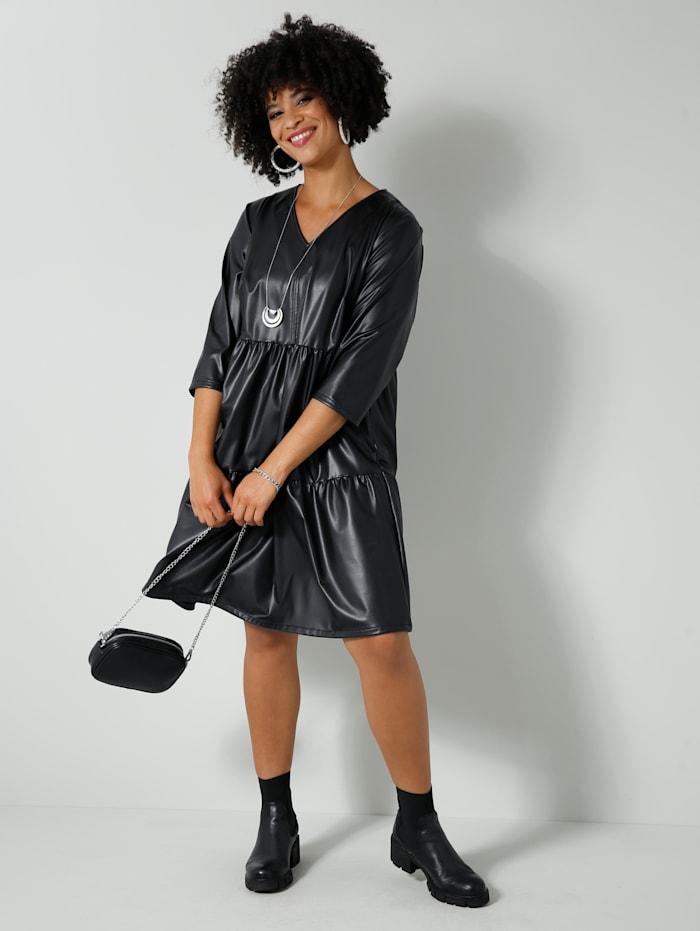 Angel of Style Kleid aus Lederimitat, Schwarz