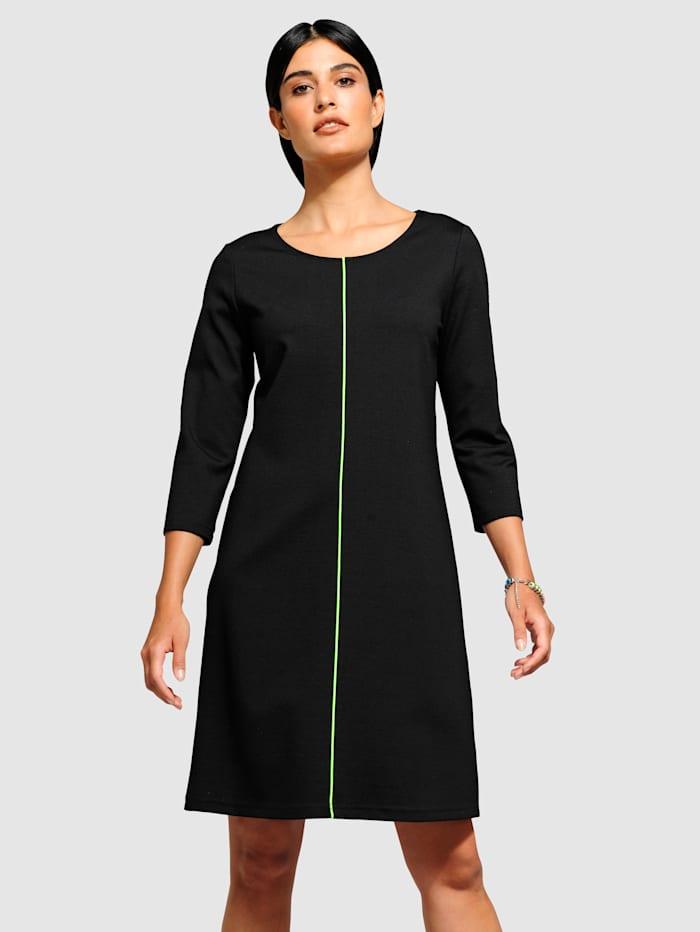Alba Moda Jerseykleid mit neon Paspel, Schwarz/Neongrün