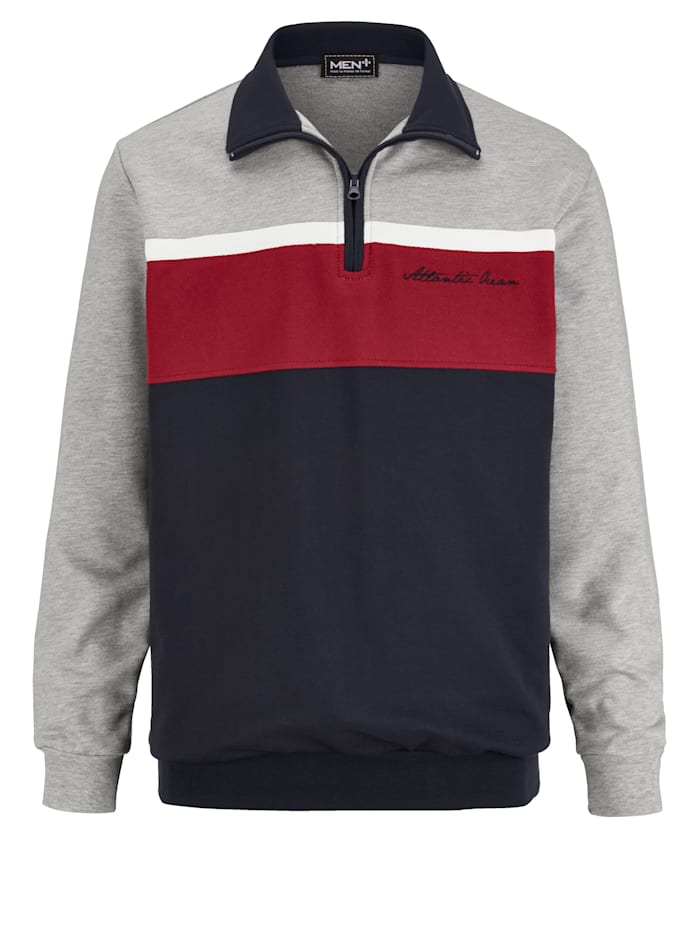 Men Plus Sweatshirt, Grau/Rot