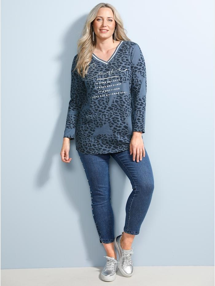 MIAMODA Shirt mit Foliendruck, Jeansblau