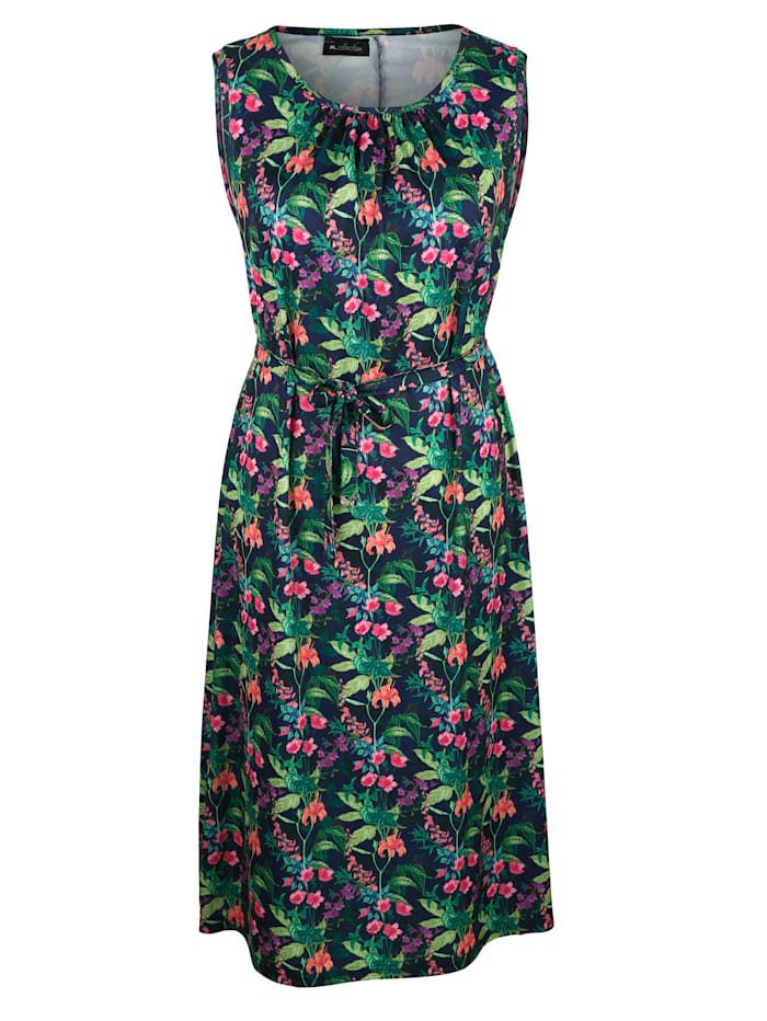 m. collection Jerseyklänning i blommigt, Marinblå/Grön