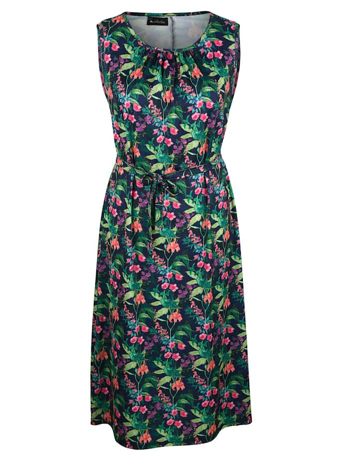 m. collection Jerseykleid mit floralem Druckdesign, Marineblau/Grün