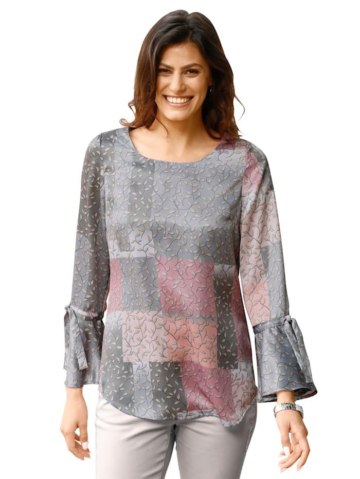 AMY VERMONT Bluse mit grafischem Muster, Grau/Rosé
