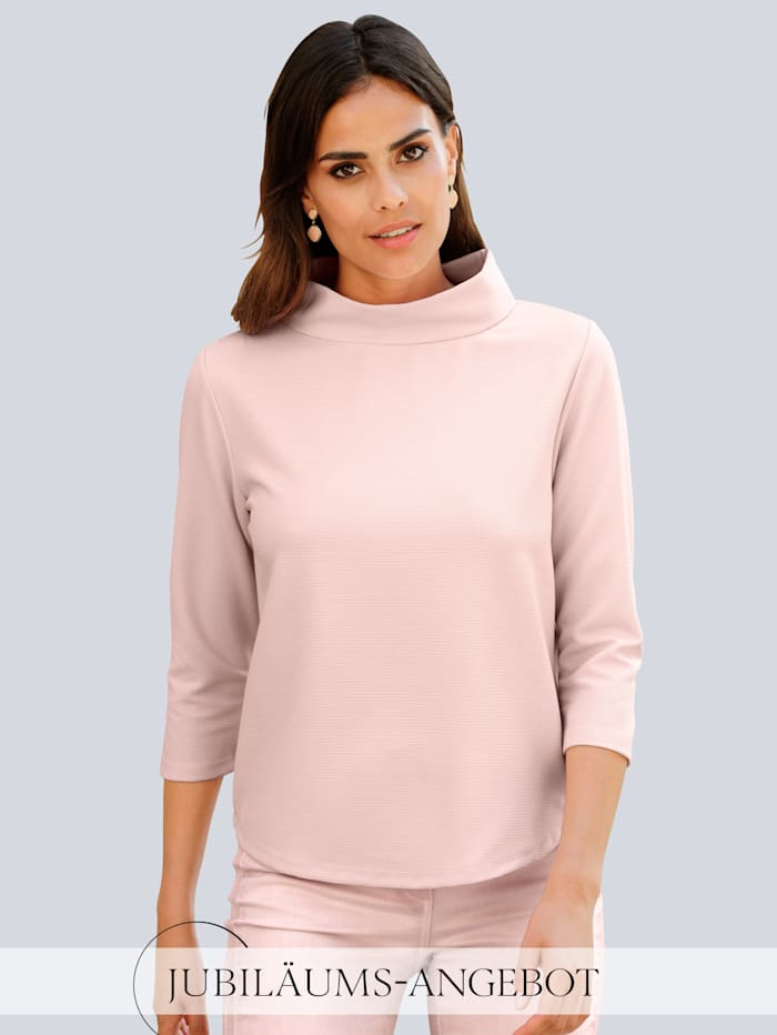 Alba Moda Shirt mit weitem Stehkragen, Rosé