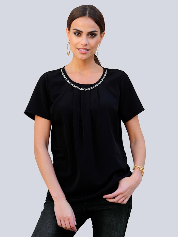 Alba Moda Bluse mit effektvoller Kette am Ausschnitt, Schwarz