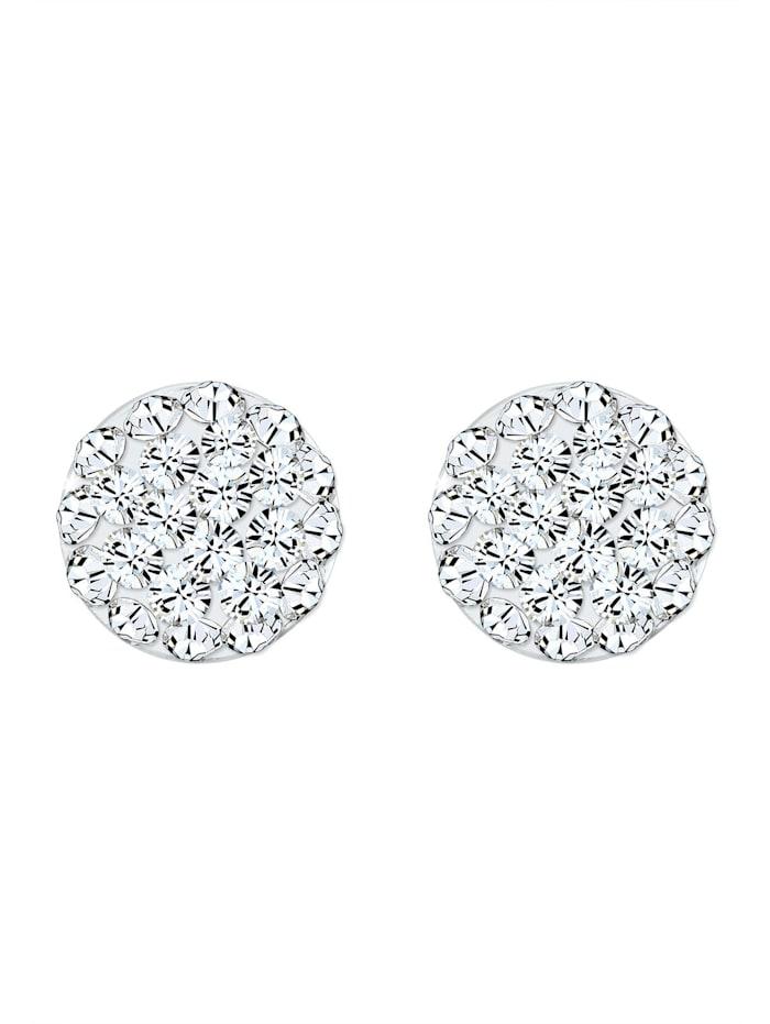 Ohrringe Kugel Kristalle Funkelnd 925 Silber