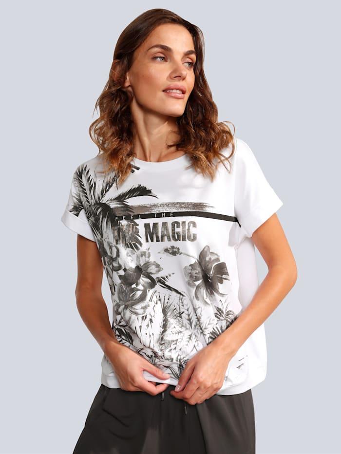 MARGITTES T-Shirt mit tollem Palmendruck, Weiß
