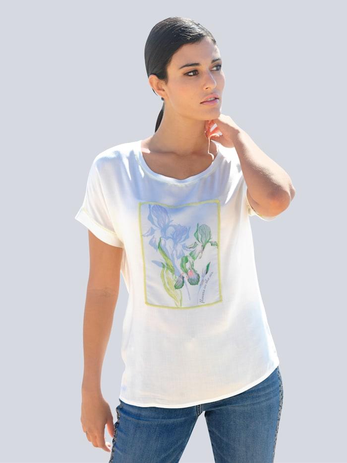 Alba Moda Shirt mit aufgenähtem Blütenmotiv im Vorderteil, Off-white/Blau/Limettengrün