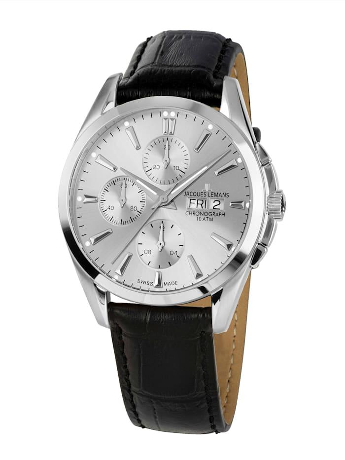 Jacques Lemans Herren-Uhr- Automatik-Chronograph Serie: Derby Automatic, Kollektion: Classic: 1- 1925B, Schwarz
