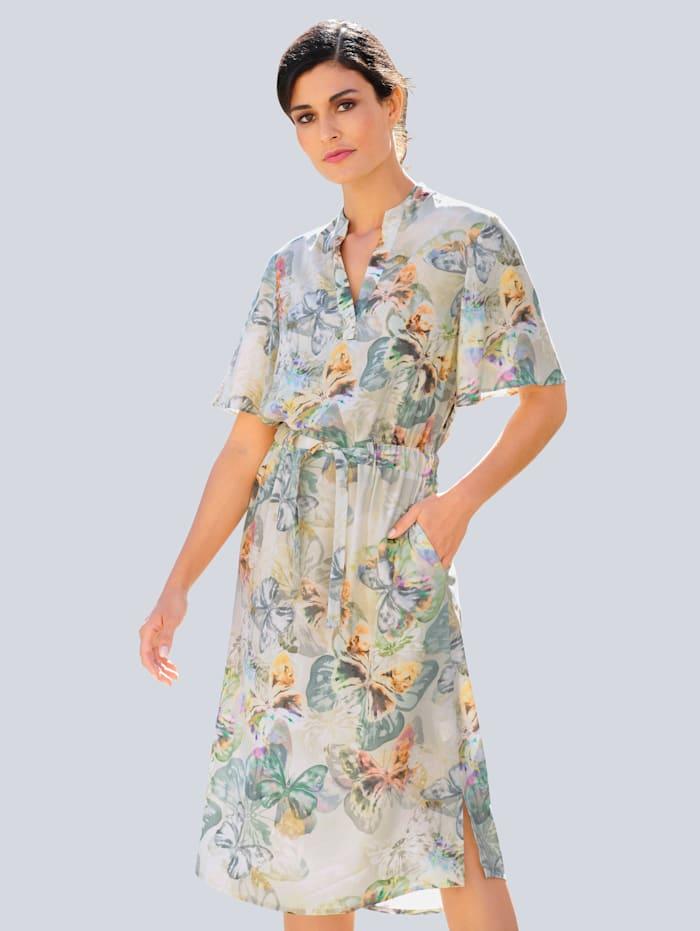 Alba Moda Kleid allover im farbenfrohen Schmetterlings-Druck, Creme-Weiß/Lindgrün/Grau