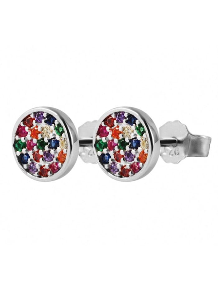 1001 Diamonds Damen Ohrstecker aus 925 Silber mit Zirkonia, bunt
