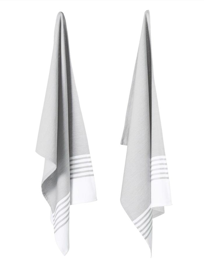 IMPRESSIONEN living Geschirrtuch-Set, 2-tlg., grau/weiß
