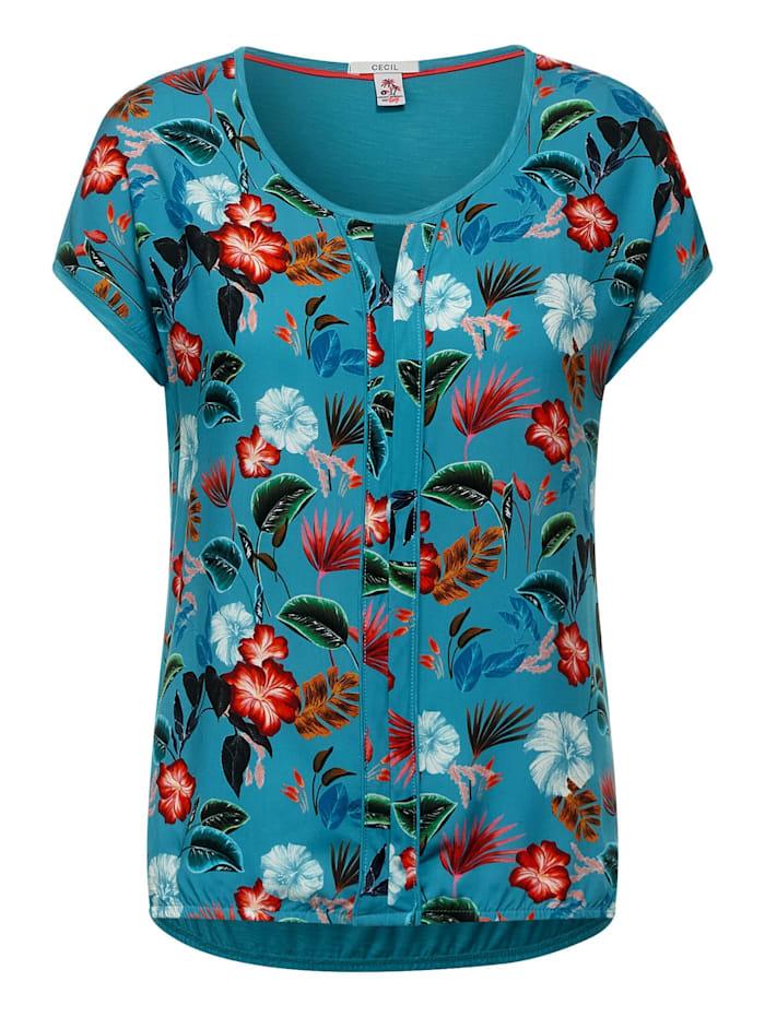 Cecil T-Shirt mit Blumen Print, cool lagoon blue