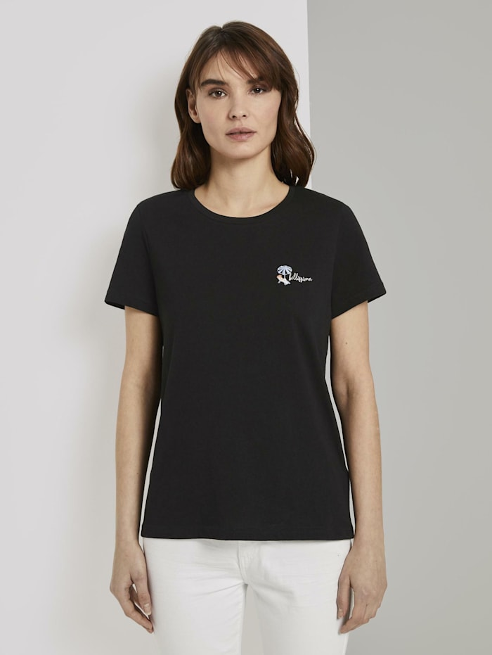 Tom Tailor Basic T-Shirt mit kleinem Print, Deep Black