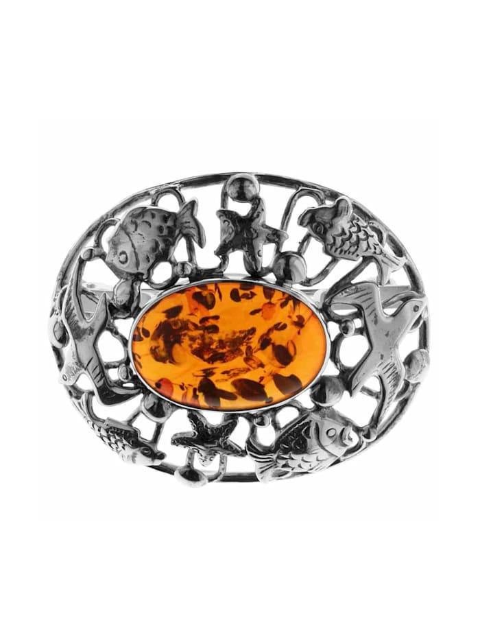 OSTSEE-SCHMUCK Brosche - Fischland 43x35 mm - Silber 925/000 -, Silber 925