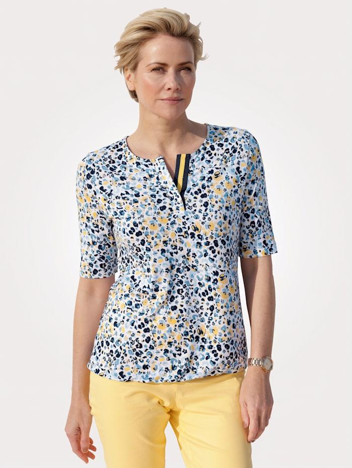 Rabe Shirt mit Allover-Druck, Marineblau/Gelb