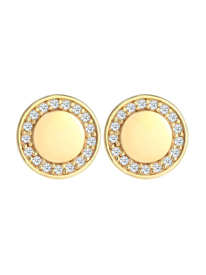 Ohrringe Elegant Klassisch Diamant (0.17 Ct) 375 Gelbgold