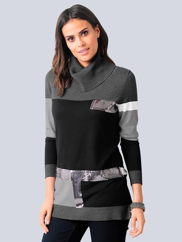 Alba Moda Pullover im Vorderteil in Colourblocking, Schwarz/Grau/Silberfarben