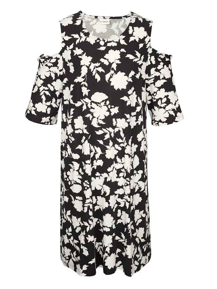 Jerseykleid mit Cold-Shoulder und Schleifendetail