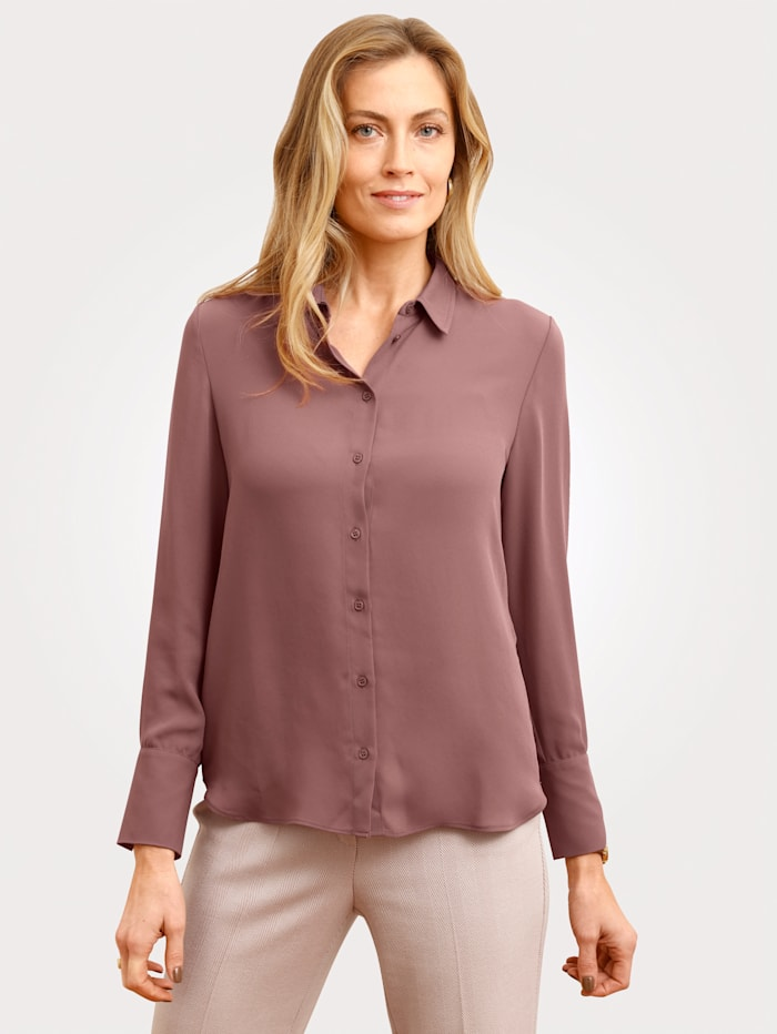 MONA Blouse in klassiek overhemdmodel, Oudroze