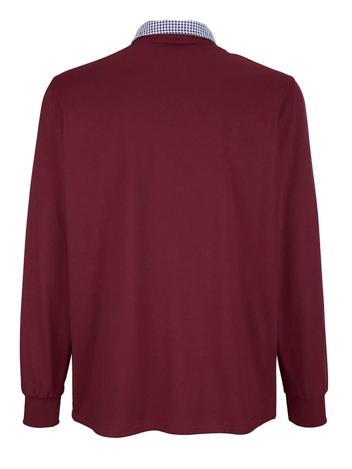 Poloshirt met beleg van weefstof aan de kraag