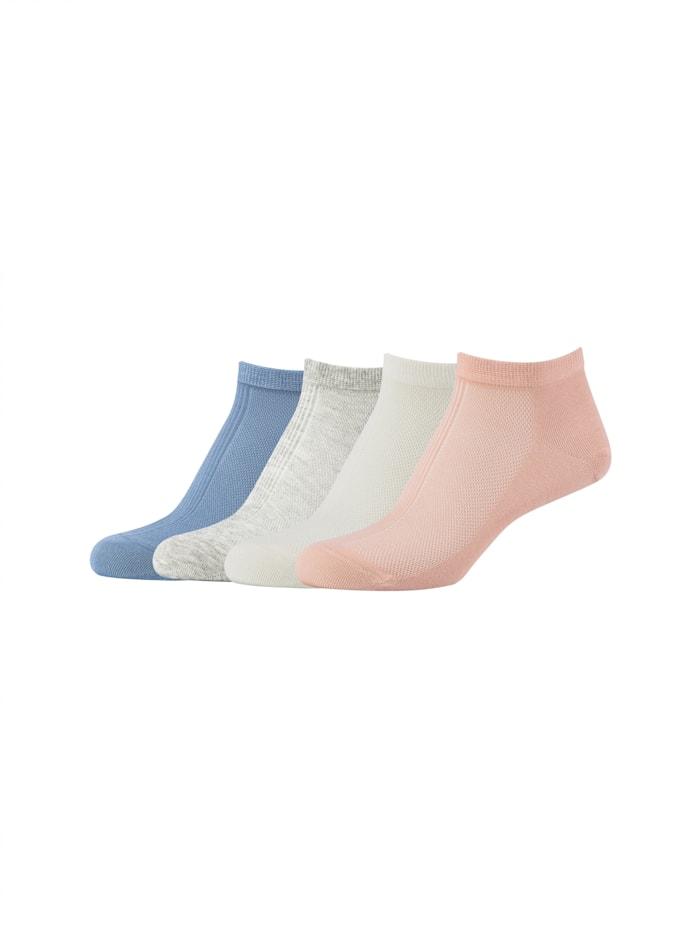 Camano Sneakersocken 4er-Pack mit weichem Komfortbund, fog melange