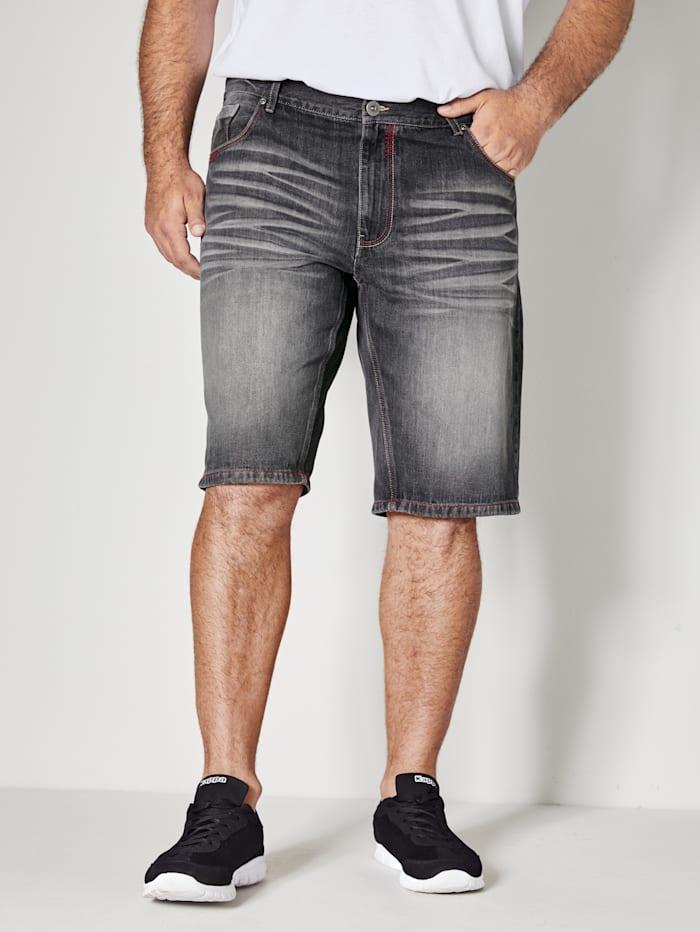 Men Plus Jeans Bermuda in 5-Pocket-Form, Schwarz