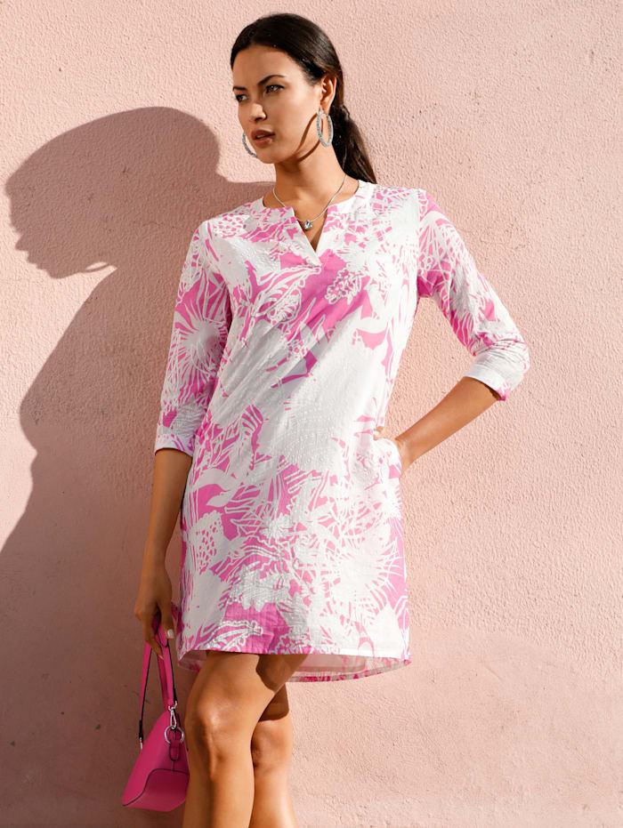 AMY VERMONT Tunika mit floralem Muster, Weiß/Pink