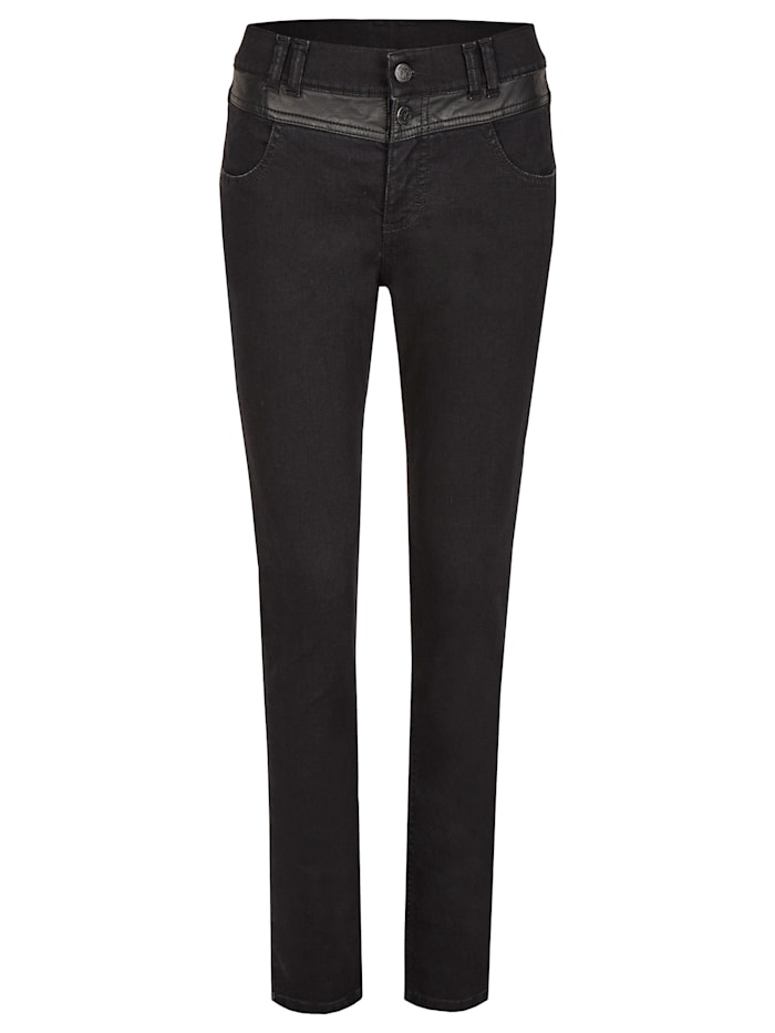 Angels Jeans 'Skinny Button Patch' mit Lederimitatapplikationen, black
