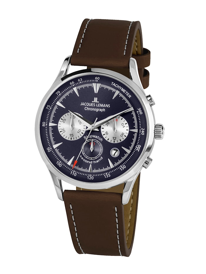 Jacques Lemans Herren-Uhr Chronograph Serie: Retro Classic, Kollektion: Retro Classic: 1- 2068C, Dunkelbraun