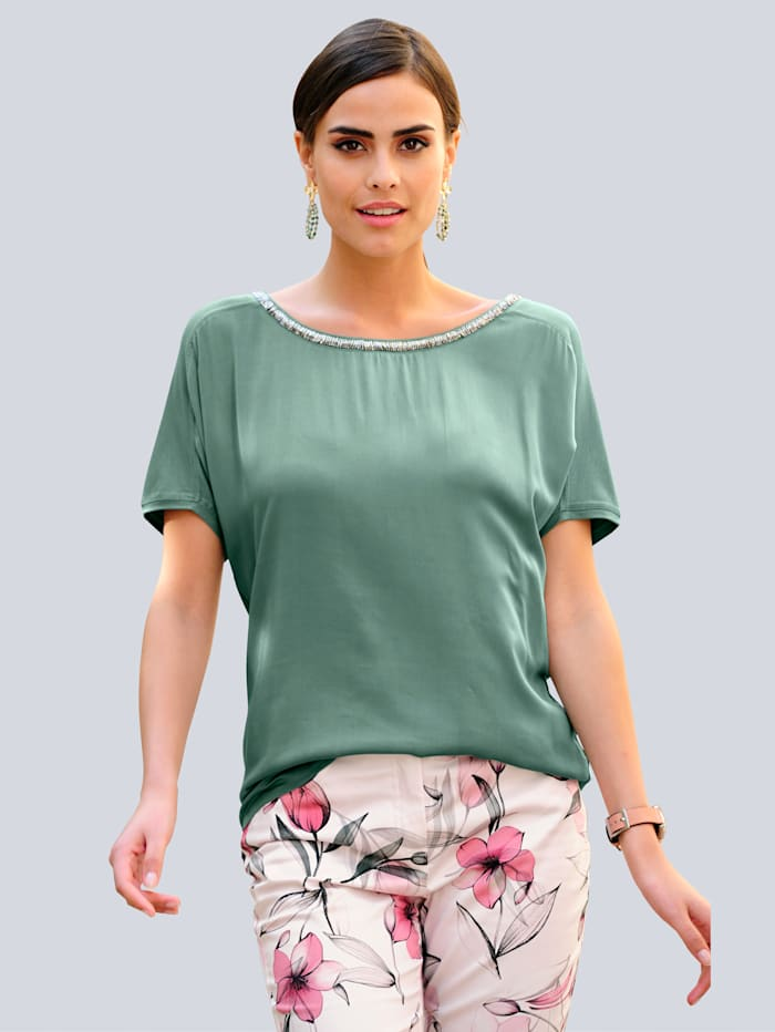 Alba Moda Shirt met sierlijke hals, Salie