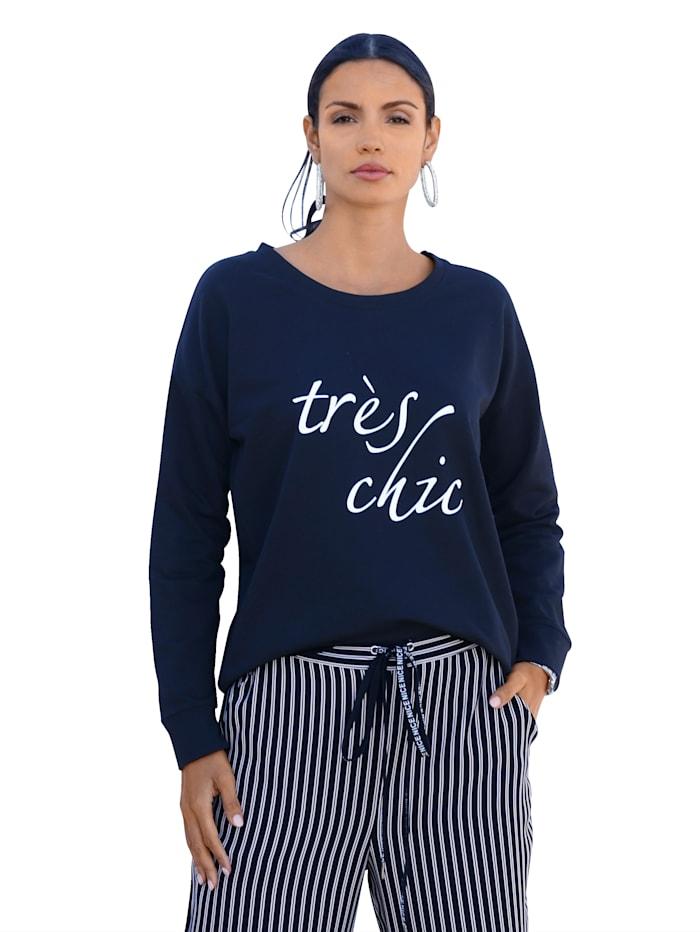 AMY VERMONT Sweatshirt med text framtill, Svart/Vit