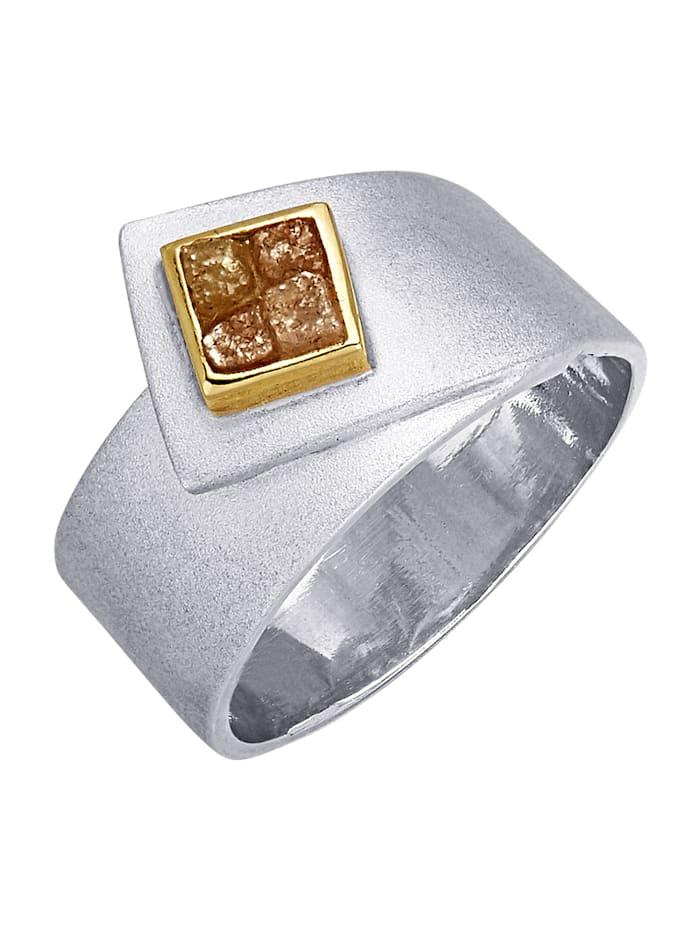 Damenring mit Rohdiamant, Silberfarben