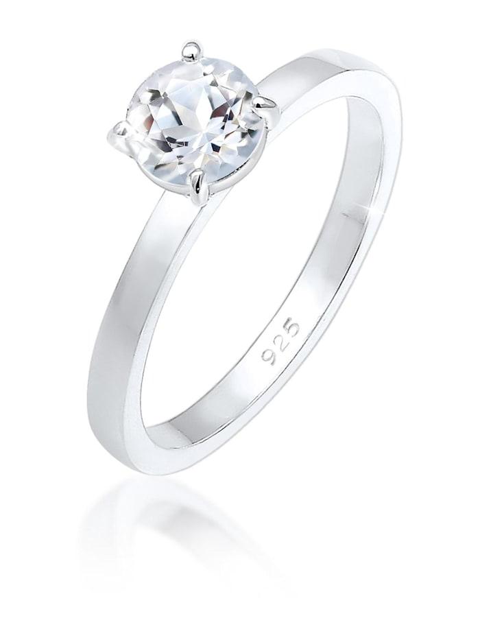 Elli Premium Ring Verlobung Solitär Topas Edelstein 925Er Silber, Silber
