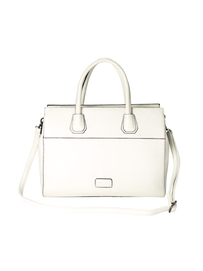 Turned Love Bag with a shoulder strap and top handle, White