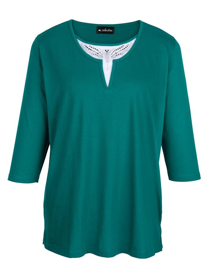 m. collection Shirt in aktueller 2-in-1-Optik, Smaragd/Weiß