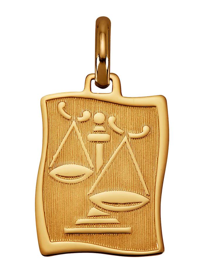 """Amara Or Pendentif avec signe du zodiaque """"Balance"""" en or jaune 585, Coloris or jaune"""