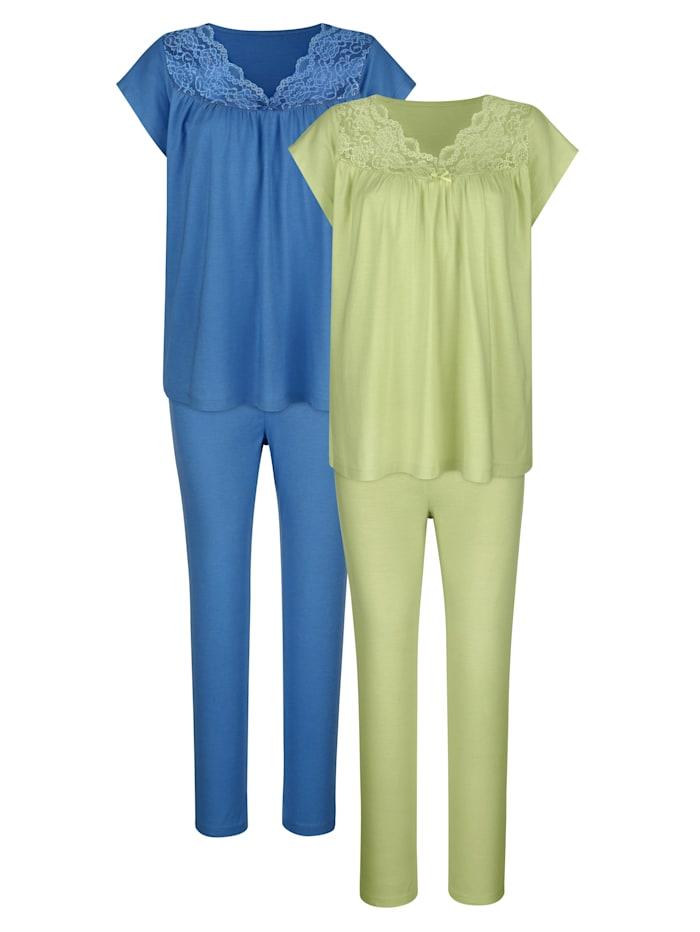 Harmony Pyjama's per 2 stuks met fijne kanten inzet, Pistache/Blauw