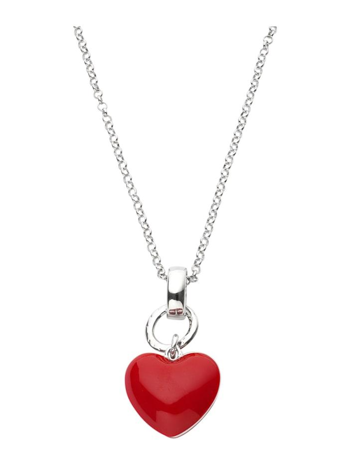 Halsband med hjärtformat hänge, Röd