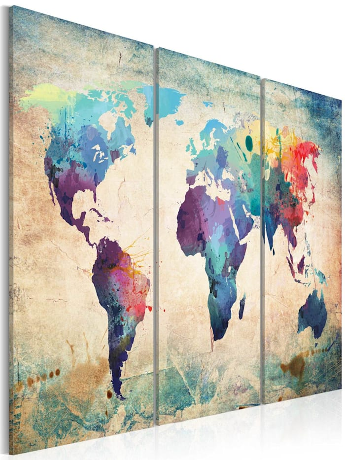 artgeist Wandbild Bunte Weltkarte - Triptychon, mehrfarbig
