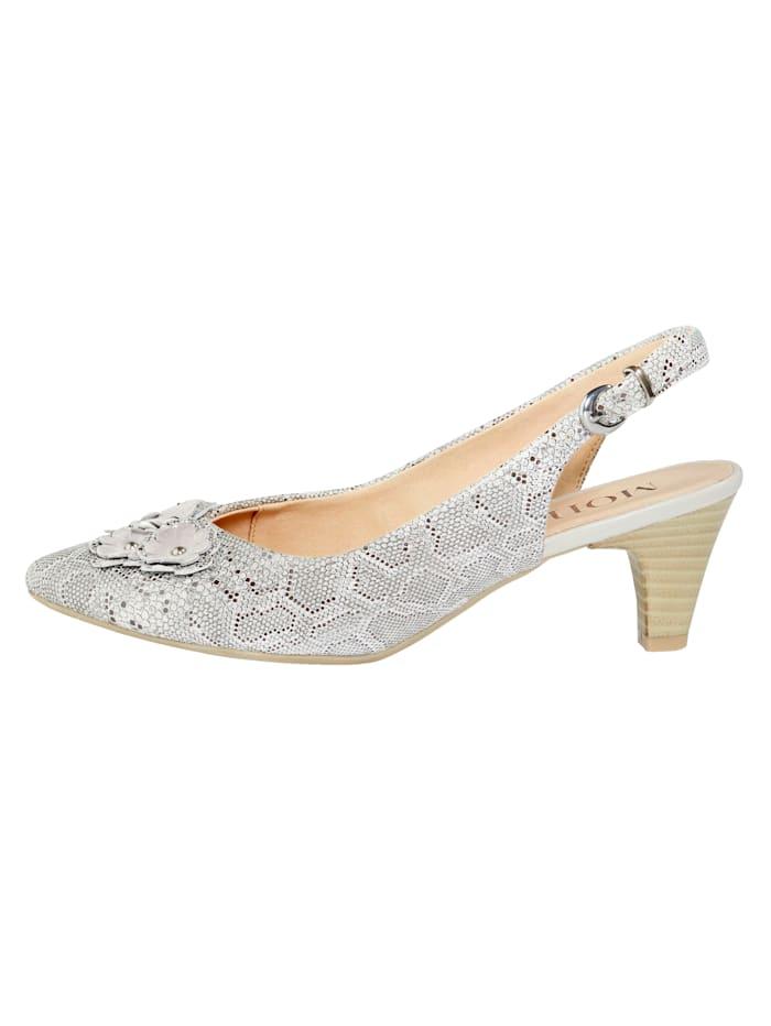 Slingback sandals with floral appliqué