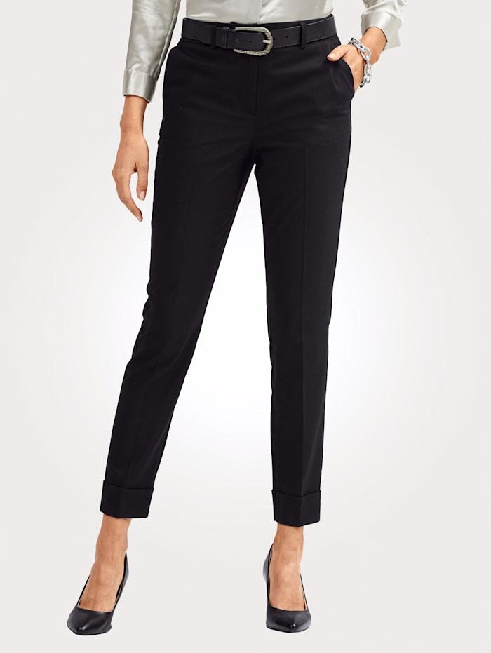 MONA Pantalon au toucher laineux, Noir