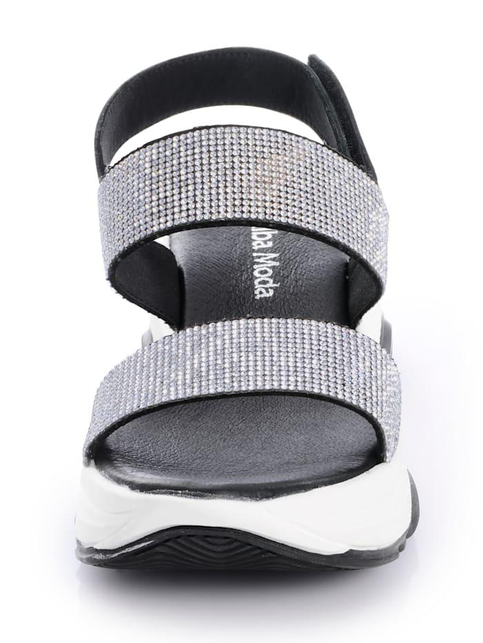 Sandalette mit Strasssteinchen