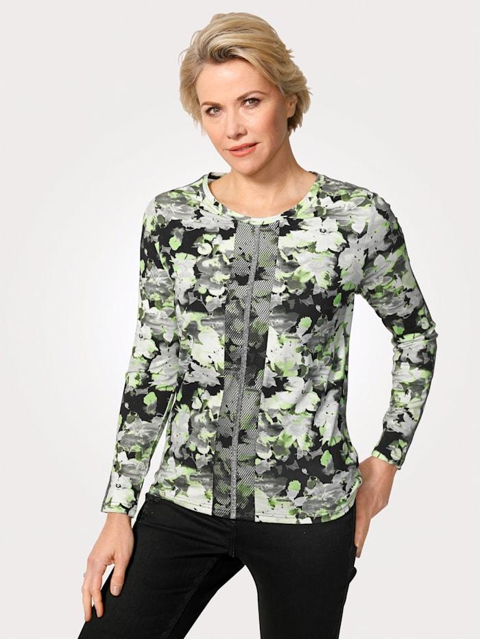 MONA Shirt mit dekorativen Zierbändern, Giftgrün/Schwarz/Weiß