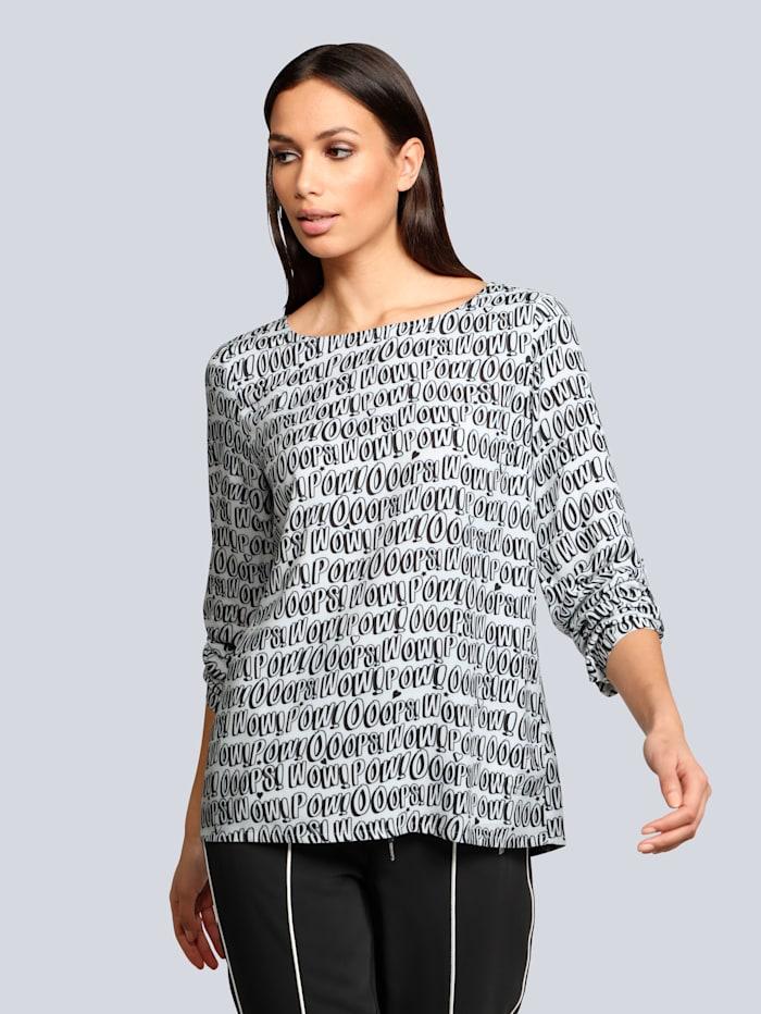 Alba Moda Bluse mit Wording-Print, Weiß/Schwarz