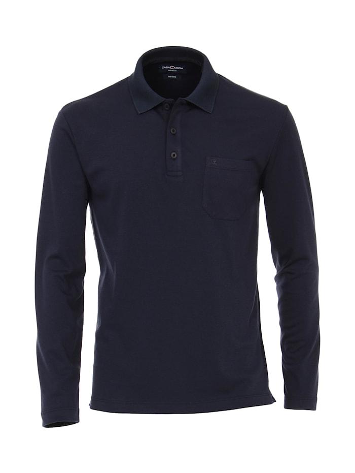CASAMODA Polo-Shirt Langarm uni, Dunkelblau