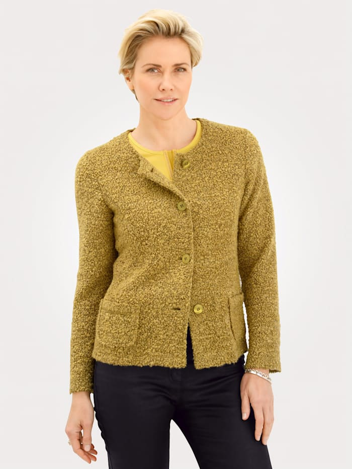Rabe Strickblazer in Bouclé-Optik, Gelb
