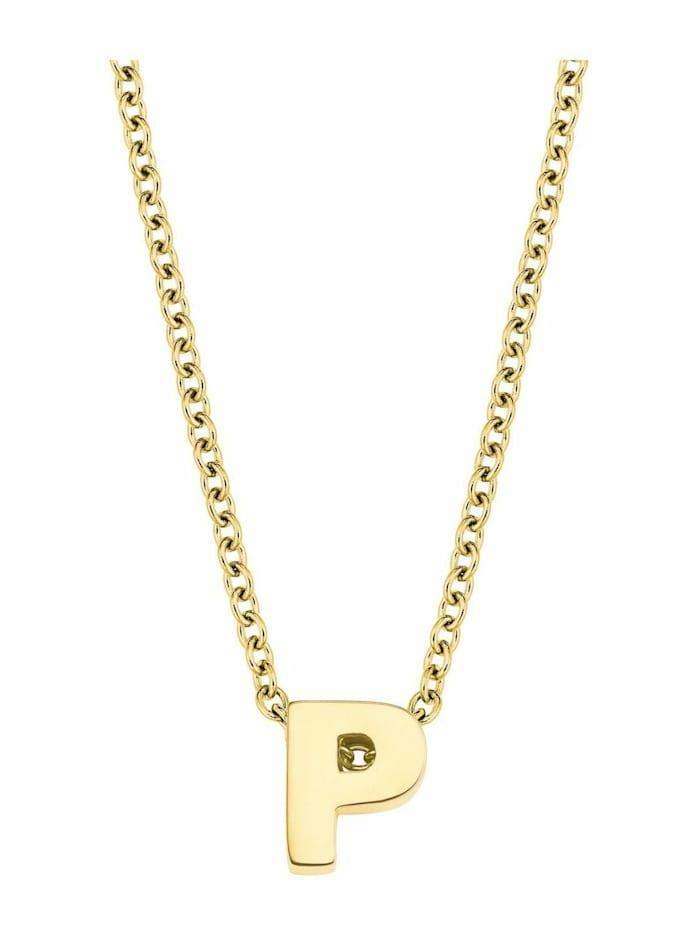 amor Kette mit Anhänger Unisex, Buchstabe P, Letter, Edelstahl gelbvergoldet, Silber