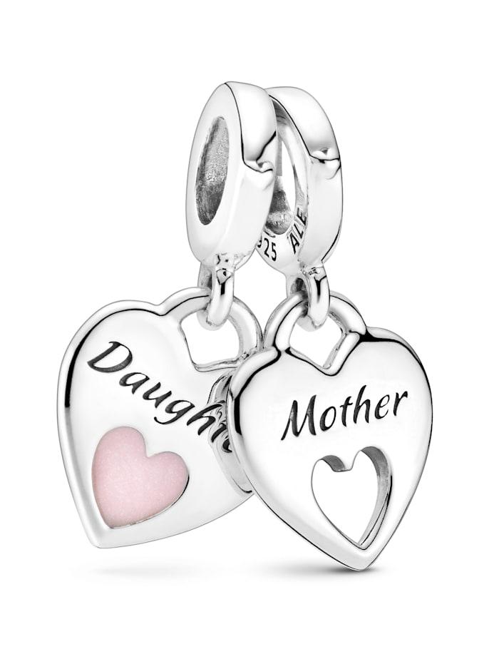 Pandora Charm -Mutter und Tocher teilen das Herz- 799187C01, Silberfarben