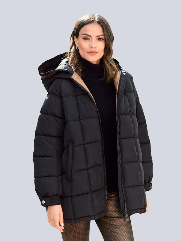 Alba Moda Jacke mit effektvoller doppellagiger Kapuzenverarbeitung, Schwarz